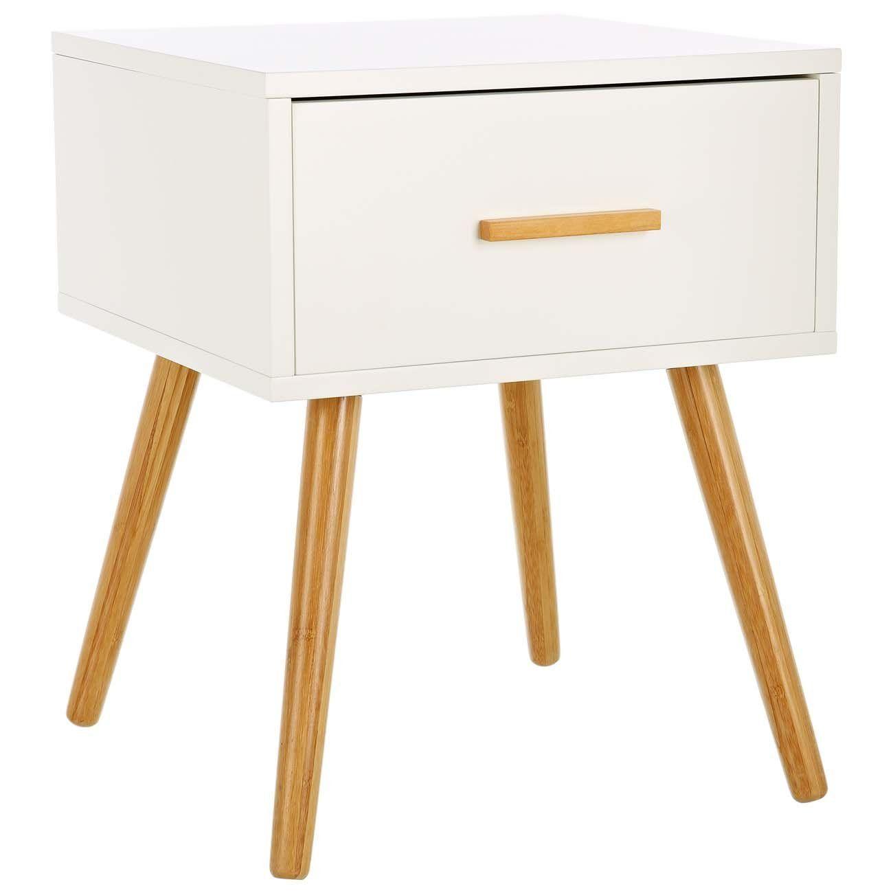 LOMOS® No.4 Beistellschrank aus Holz in weiß mit einer Schublade im ...