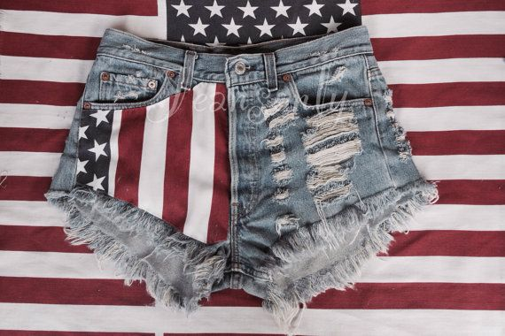 High Waisted American Flag Denim Shorts Us Stars And Stripes Red Blue White Levis Distressed Destroyed By Je American Flag Shorts Grunge Outfits Painted Shorts