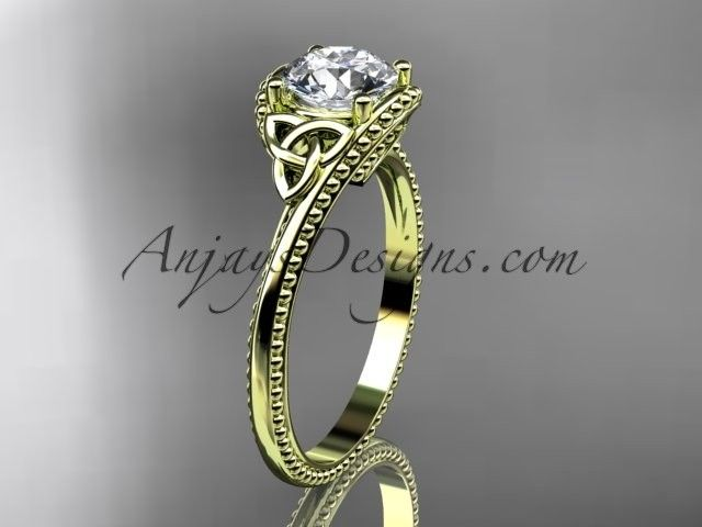 "14kt yellow gold celtic trinity knot wedding ring, engagement ring with a ""Forever One"" Moissanite center stone CT7322"