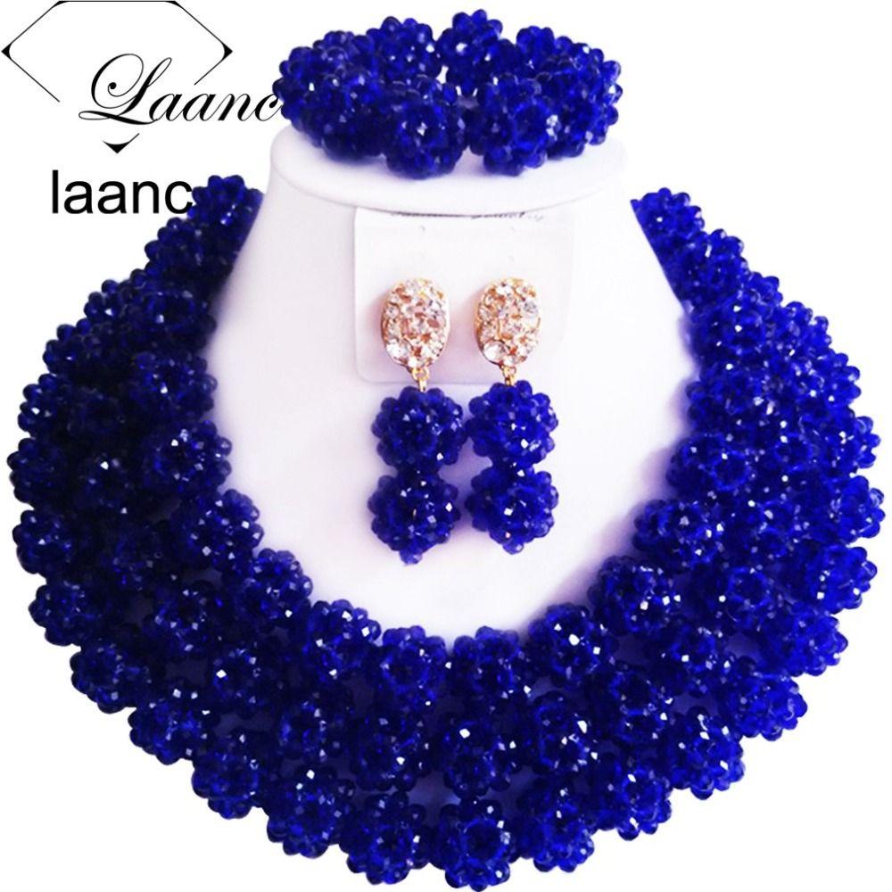 royal blue earrings gift set for woman royal blue jewelry for wedding Royal blue beaded bracelet and earrings set