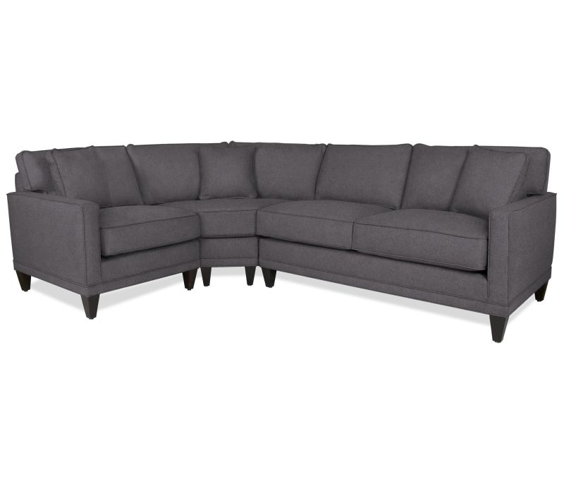 Sectional Sofas Boston Yellow Sofa Slipcover Interiors Oslo 3 Pc With Wedge Upholstered In A Slate Gray
