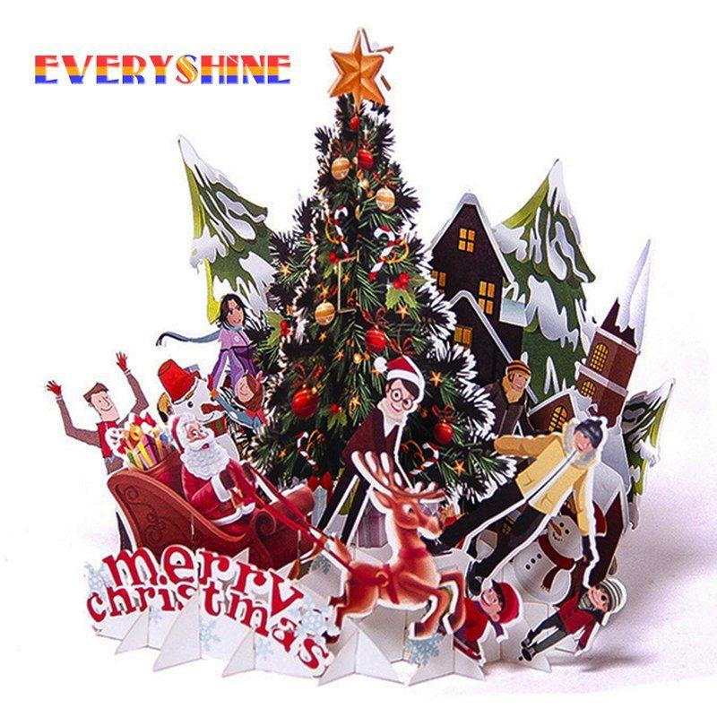 Frohe Weihnachten 3d.Günstige Frohe Weihnachten 3d Pop Up Santa Claus Gruß Karte