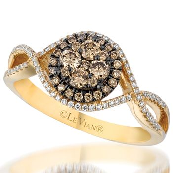 Le Vian 14K Honey Gold .53 Carat Chocolate and Vanilla Diamond Ring