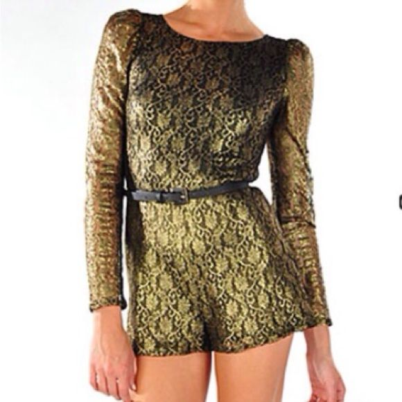 Gold Lace Romper Amazing gold lace romper with a detachable faux leather skinny belt and sexy cutout back. Host Pick Other