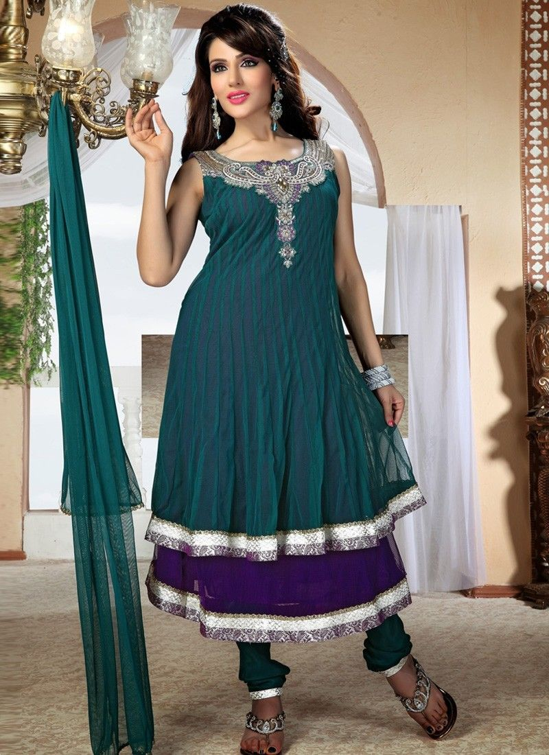 Deep #Purple Teal Blue Net #Anarkali Salwar Suit