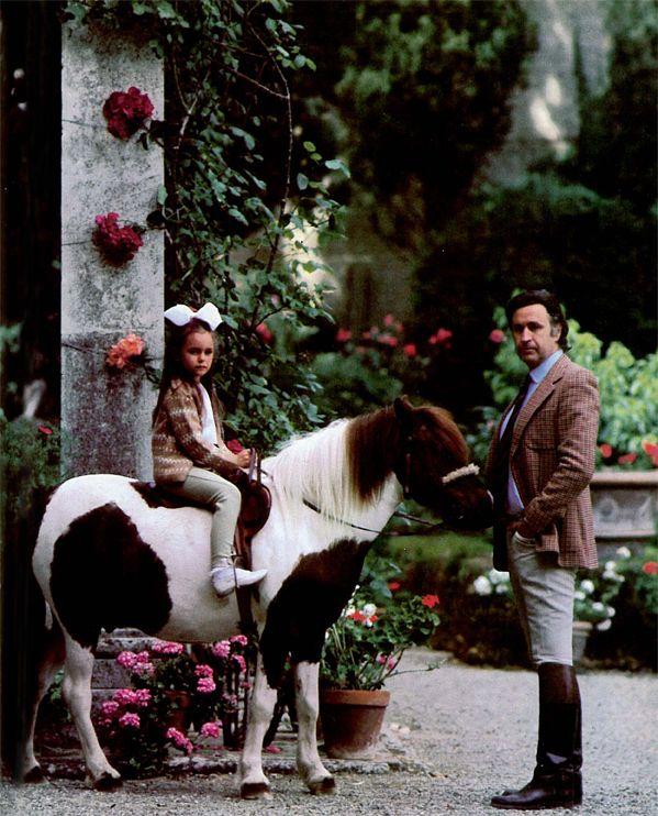 Prince Girolamo Strozzi and daughter Natalia at their San Gimignano wine estate in Tuscany. April, 1984
