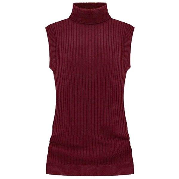 V28 Women's Sleeveless Ribbed Mock Neck Turtleneck Stretchable Knit...  ($17) ❤