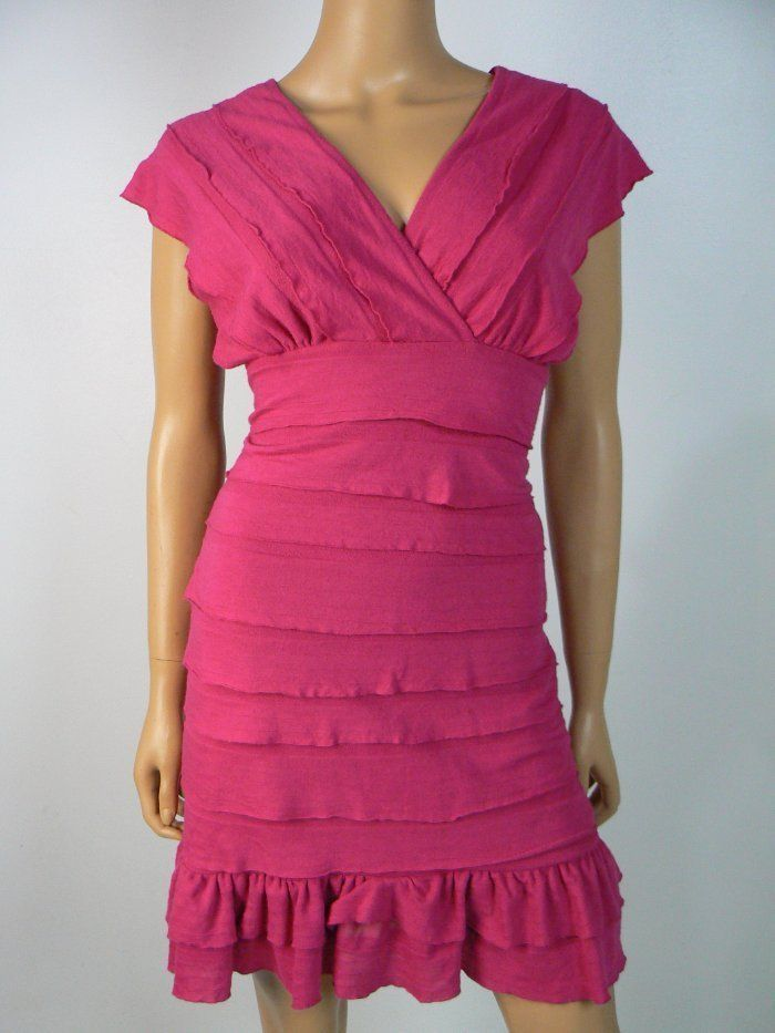 Cremieux Pink Tiered Ruffled Vneck Vback Stretch Sheath Dress XS 0 2 NEW C377 #Cremieux #Sheath #Cocktail