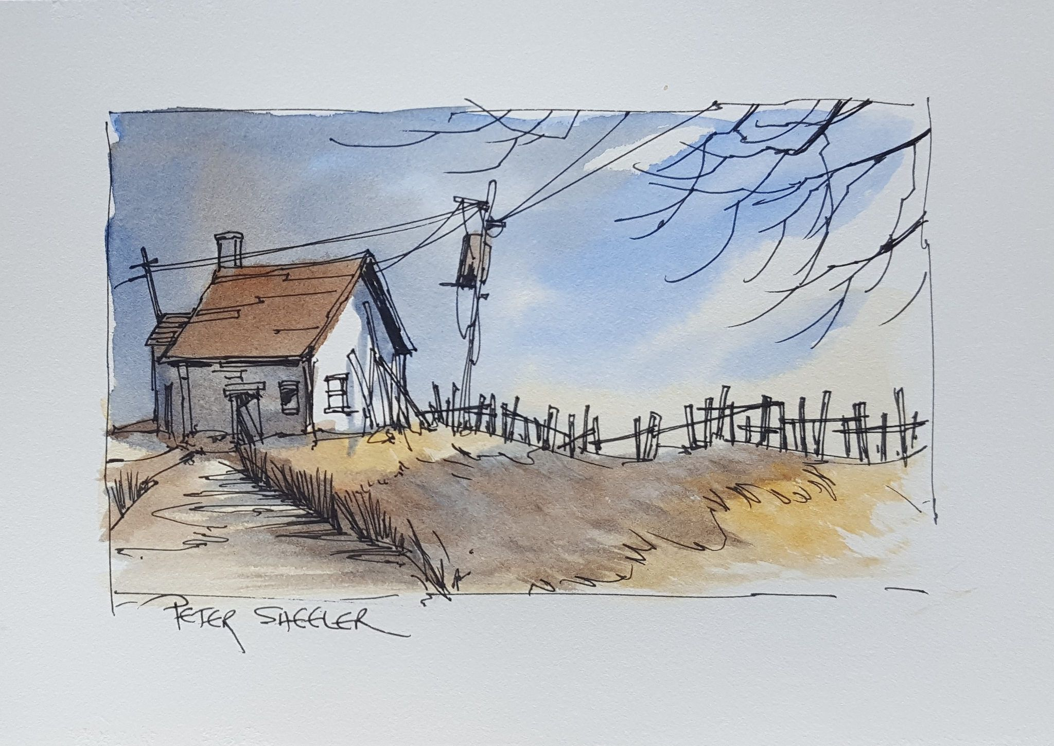A Simple Pen and Wash using just 3 colours. | Aquarell, Malen und ...