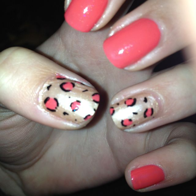 Gold and coral leopard