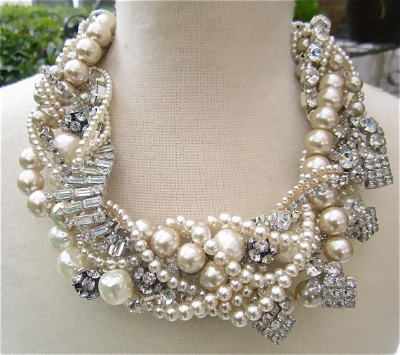 Floral chunky necklace antique gold wedding necklace beige cream large pearl rhinestone necklace silver statement necklace Jewelry
