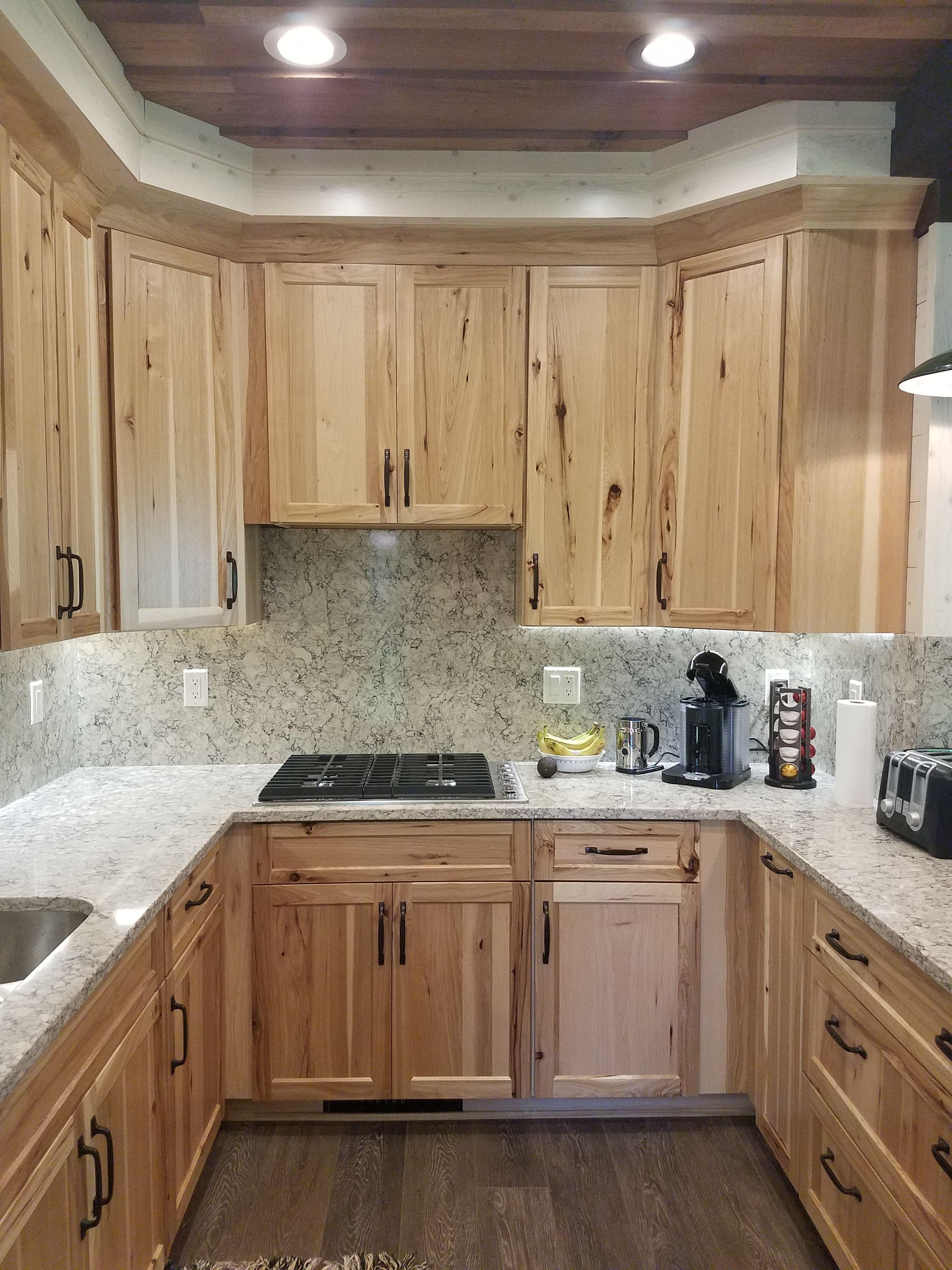 Hickory Shaker Style Kitchen Cabinets Bright Light Fixtures Fresh Pictures Of With Quartz Countertops