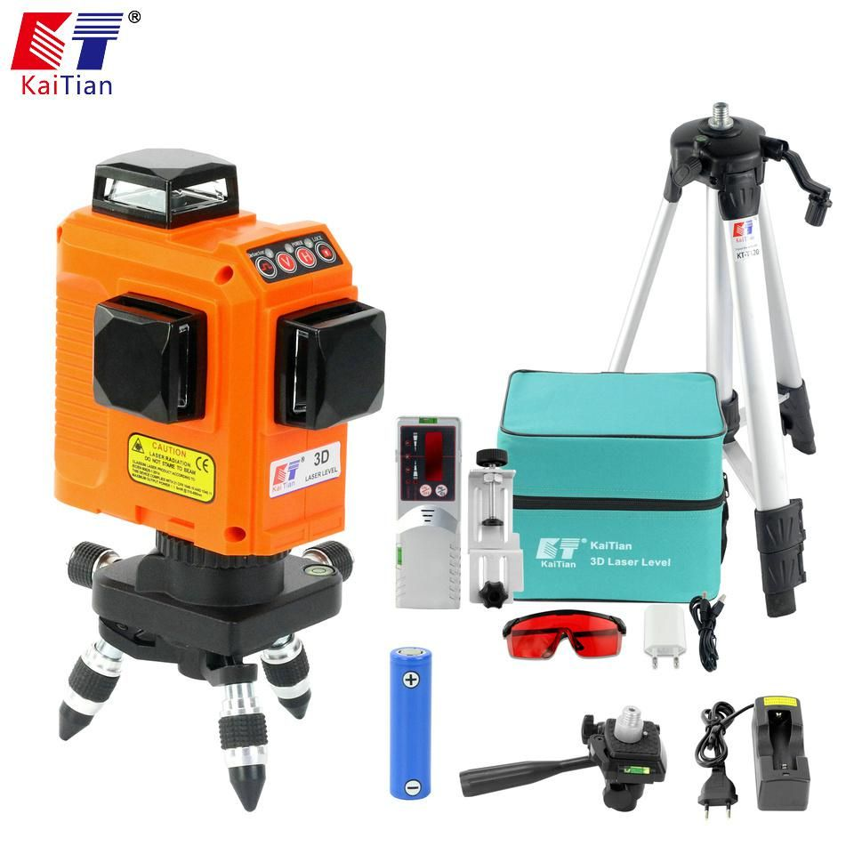 Kaitian 12lines 3d Laser Level Receiver Self Leveling Horizontal 360 Vertical Cross Super Powerful Red Laser Tripod Beam Line Eu Laser Levels Vertical Horizontal