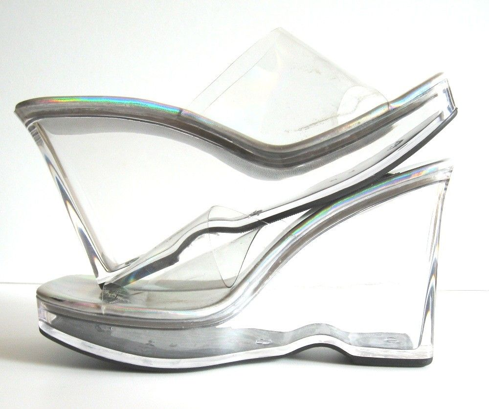 377024ef390 Vintage Disco Chic - Clear Acrylic Slip-On Open Toe Platform Shoes ...
