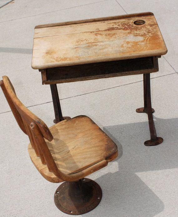 Antique Children's desk and chair. Kenney Bros and Wilkins, Boston Mass.  $150.00, - Antique Children's Desk And Chair. Kenney Bros And Wilkins, Boston
