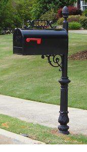 The Hampton Aluminum Mailbox And Post System Black Amazon Com Rural Mailbox Mailbox Metal Mailbox