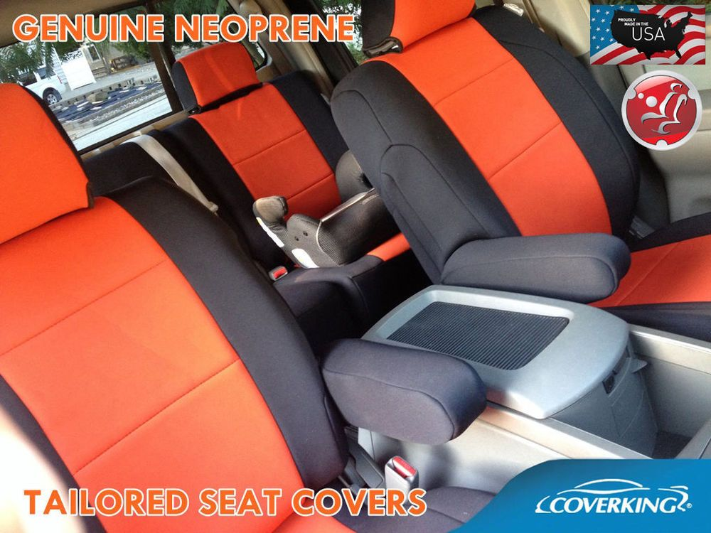 Coverking Neoprene Seat Covers >> Coverking Neoprene Front Orange Seat Covers for Toyota Tacoma 2016 Double Cab #Coverking ...