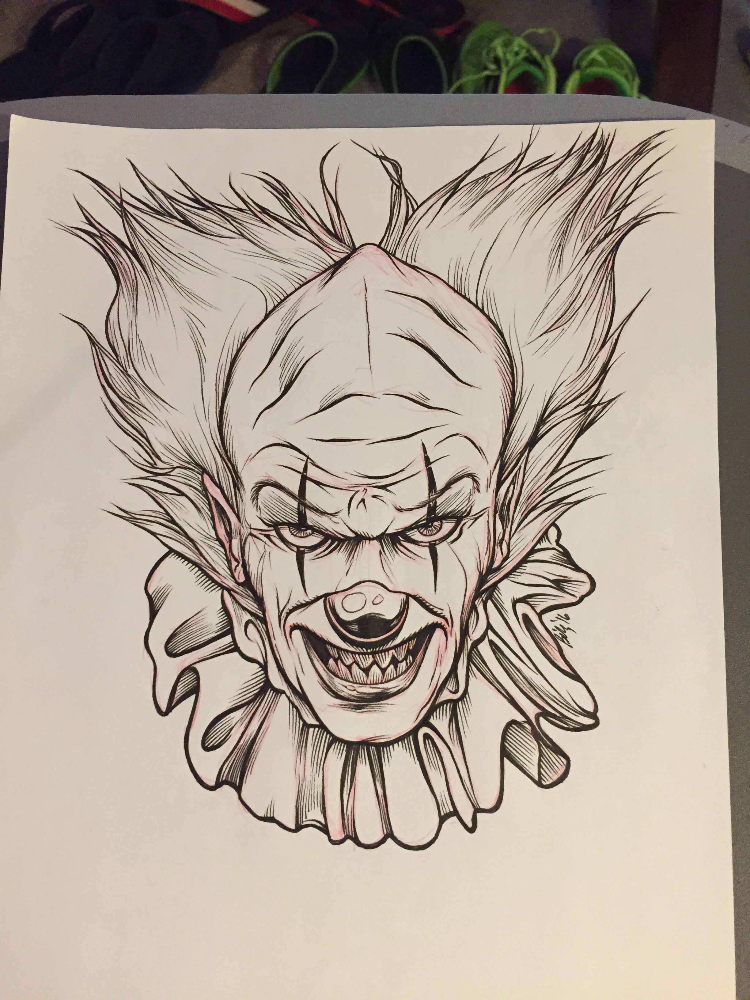 Desenho Palhaço Tatuagem creepy clown sketch for inktober | tatuagem de palhaço