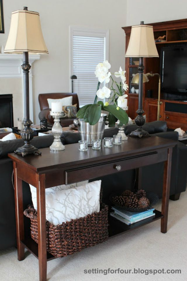 Setting For Four On Home Tour Tuesdays Sofa Table Decor Table Behind Couch Home Decor