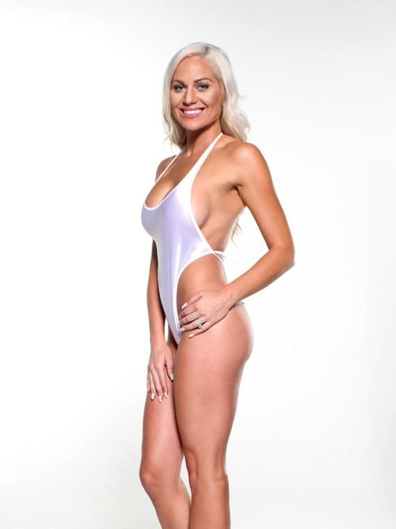 55bfb184b69 Solid White Sexy Monokini Micro G-String Thong One Piece Exotic ...