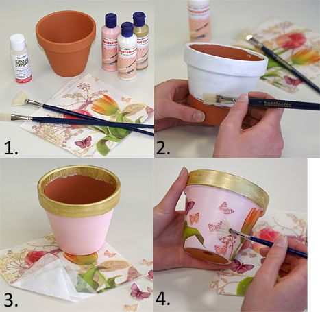 Anleitung Tontopf Clay Pot Spring Crafts Decoupage Diy