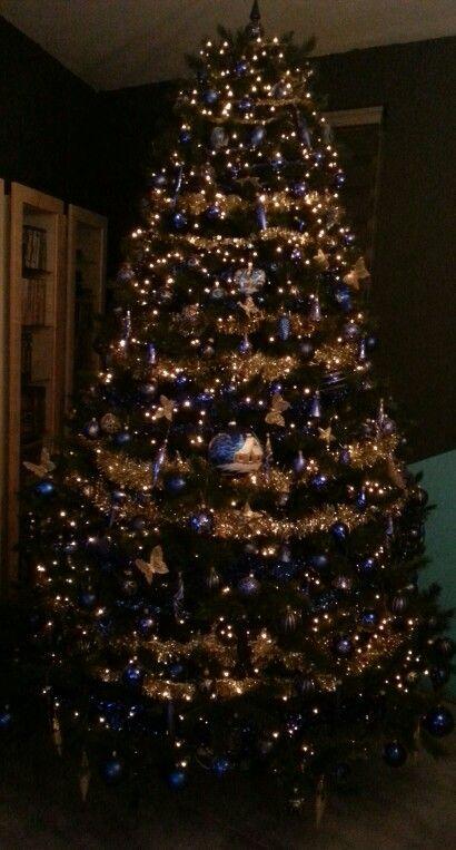 Kerstboom Blauw Met Goud Kerstboom Kerstversiering Kerstdecoratie