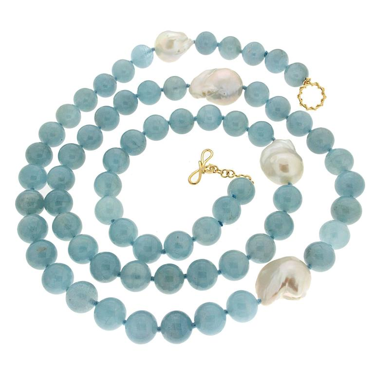 Pastel Necklace Beaded Necklace Long Blue Necklace Fresh Water Pearl Necklace 27\u201d necklace Aquamarine Necklace