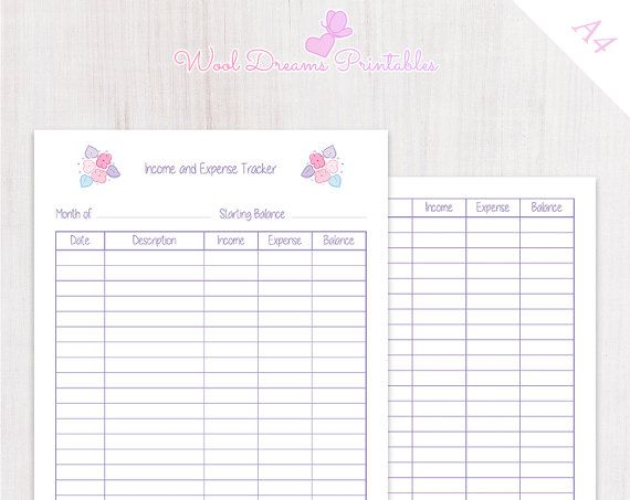 income and expense tracker pastel pink flowers a4 size finance