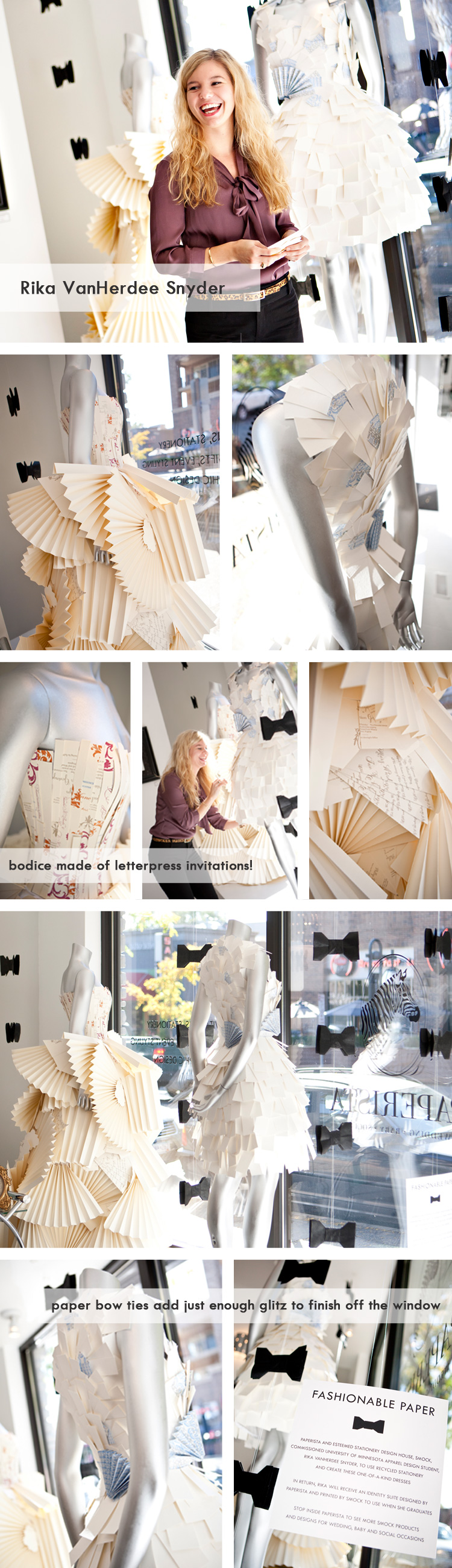 Display dresses for a stationary store made out of invitations - how ...