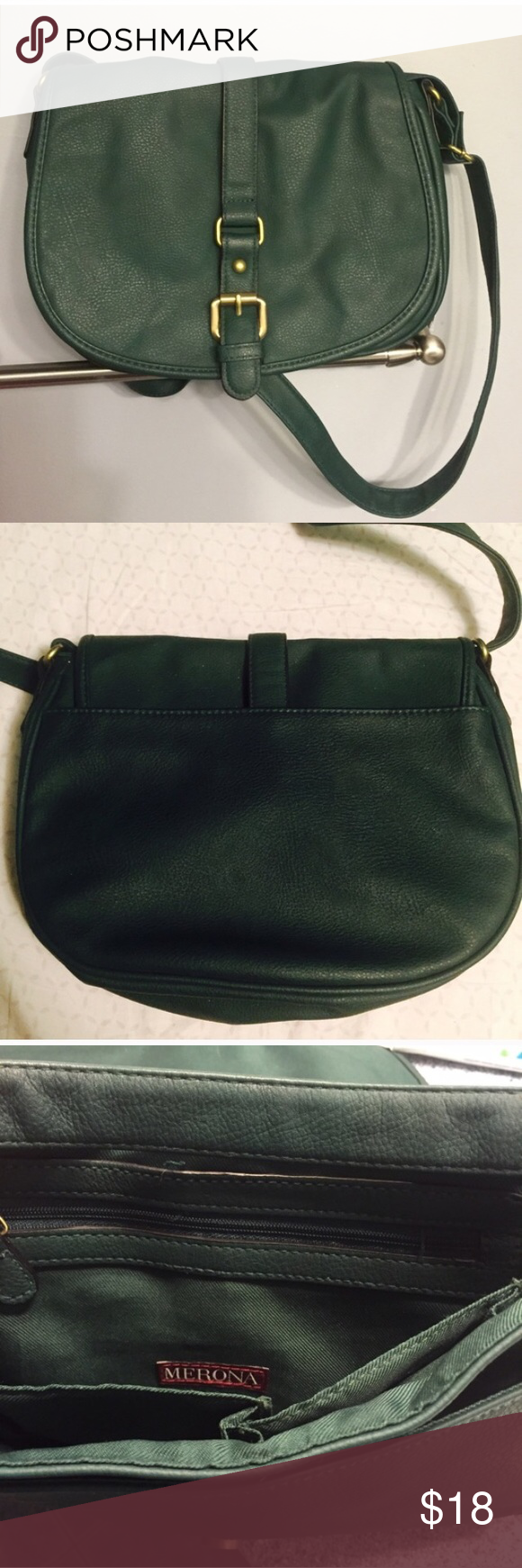 Deep green cross body purse. Used twice. This purse has been well taken care of. Like new. Beautiful green color. Merona Bags Crossbody Bags