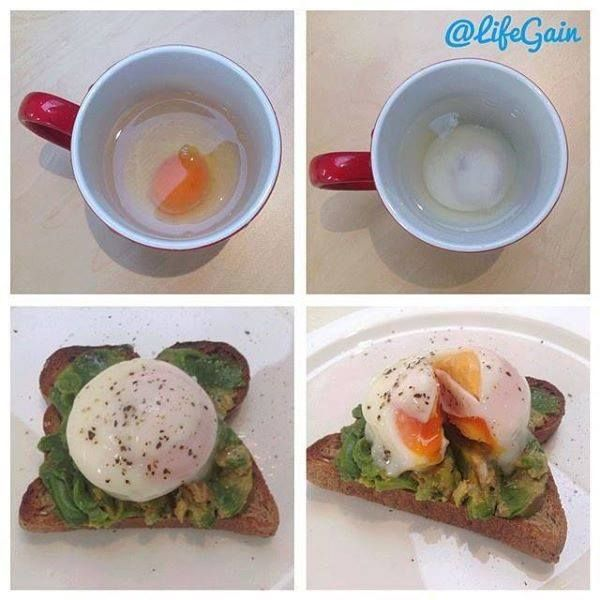 Microwaved Poached Eggs.... *Fill a mug 1/3 full with cold water. *Crack a free range egg carefully into the water being careful not to break the yolk. *Microwave on high for 1 minute. *Remove from the microwave and let it sit in the water for 20 seconds so the egg continues to set. *Lift your egg out of the water with a spoon. If you want it cooked more pop it back in the microwave for another 10 seconds. *Pop it on a piece of toast and enjoy your super easy poached egg.
