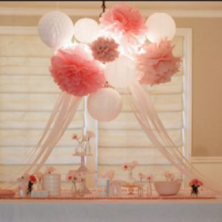 Pink poms and paper lantern luminaries as a chandelier! What a cute idea!