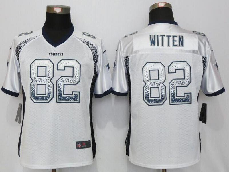 Womens Dallas Cowboys #82 Jason Witten Drift Fashion White Nike Elite Jersey