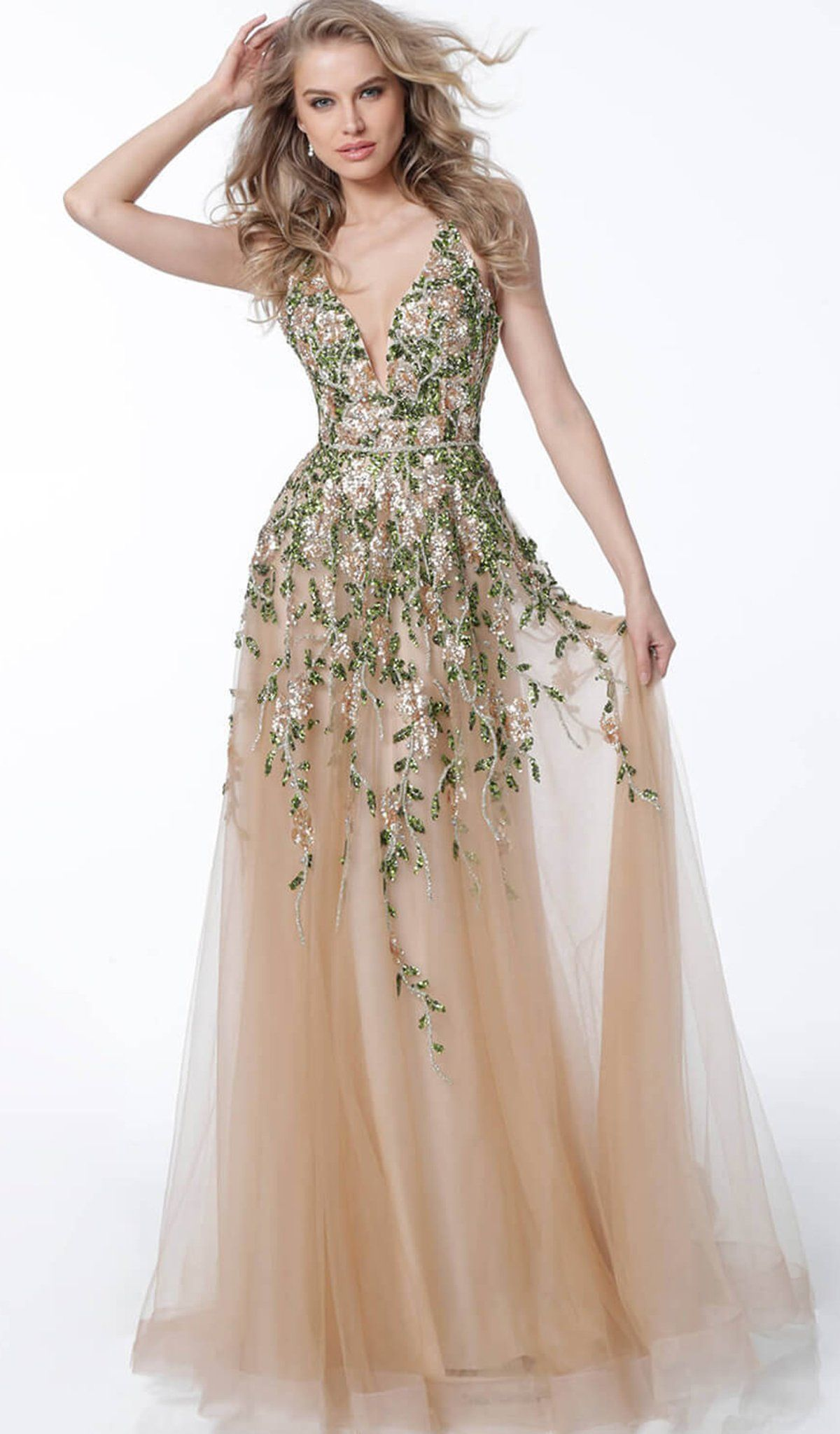 jovani - 60800 floral embroidered crisscross-strapped gown