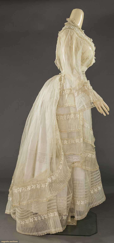 ORGANDY & LACE DRESS PARTS, 1860-1870s | 1870 - 1879 fashion ...