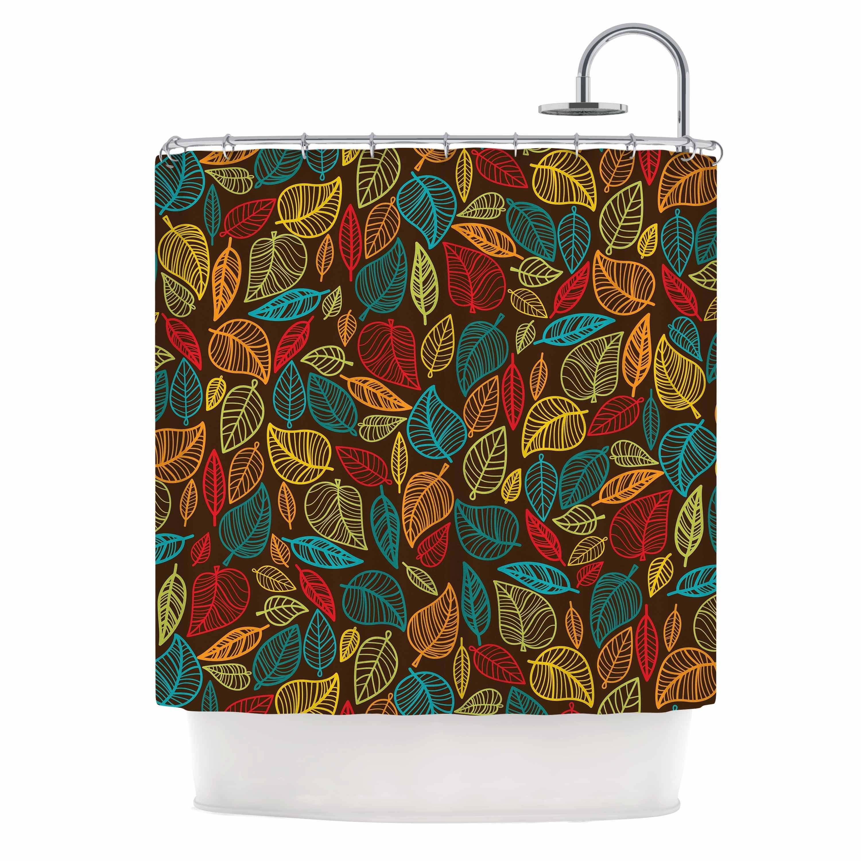 KESS InHouse KESS Original Leaves All Around Multicolor Brown Shower Curtain  (69x70) By Kess InHouse