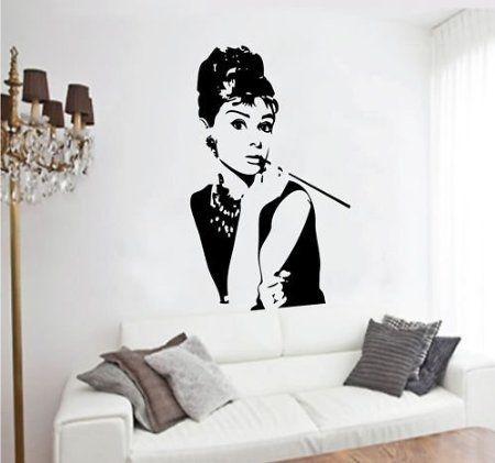 Wall vanity bedroom vinyl decal sticker personality Audrey Hepburn