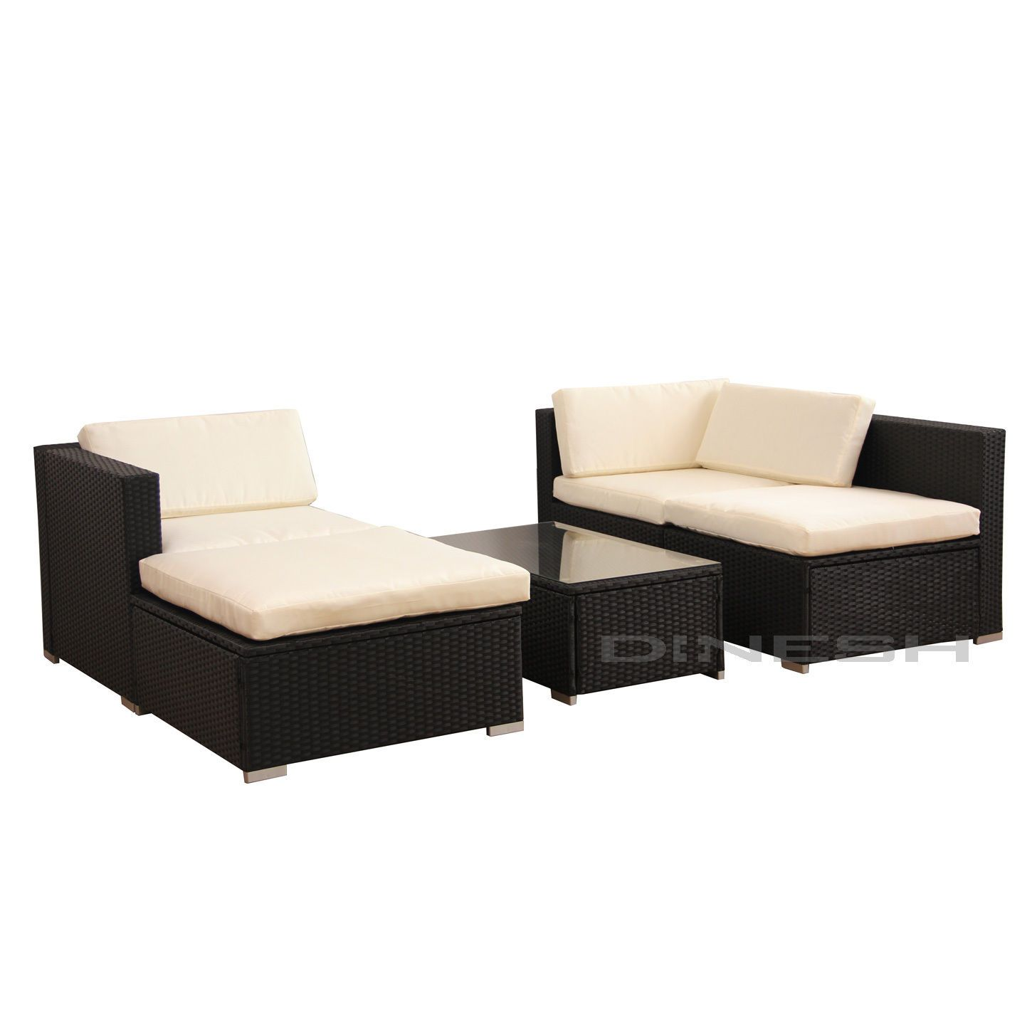 Details about Hawaii POLY RATTAN Lounge Schwarz Gartenset Sofa ...
