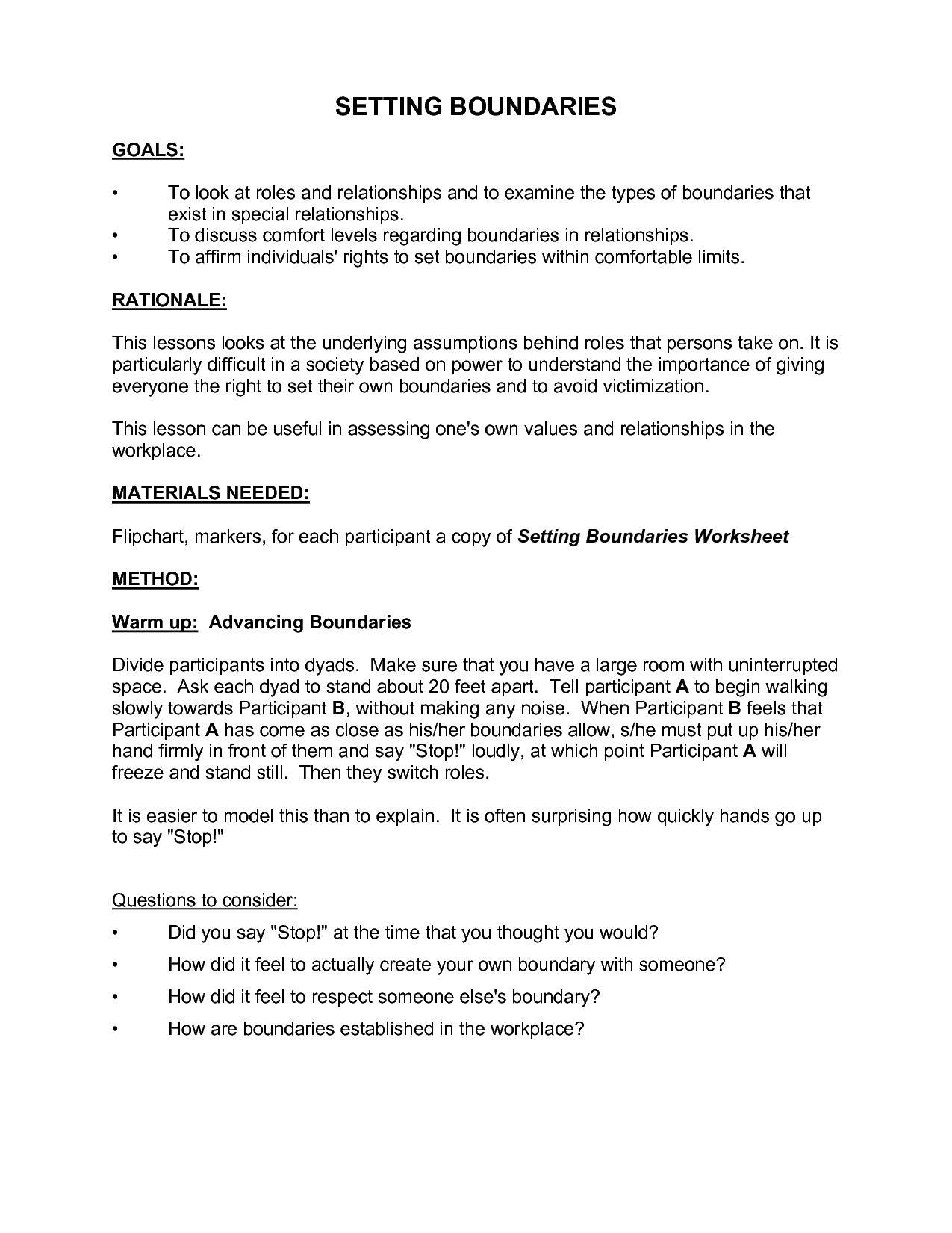 Healthyboundariesworksheet Boundaries Worksheet