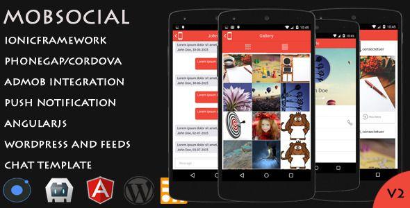 Mobsocial Ionic Cordova Phonegap Hybrid App Template And WordPress App Template WordPress App WordPress Template