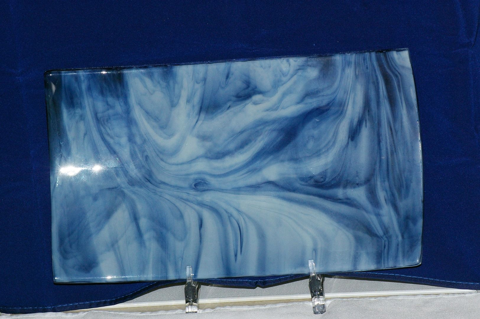 approx 9x 12 serving tray blue swirls. www.castlewynd.com