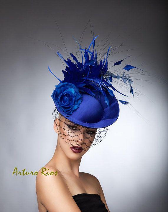 Alta Costura · Royal Blue Fascinator cocktail hat Headpiece Royal by ArturoRios  Tocados 866579ad498