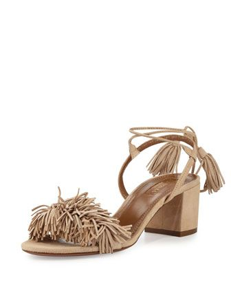 Wild+Thing+Fringe+City+Sandal,+Biscotto+by+Aquazzura+at+Neiman+Marcus.