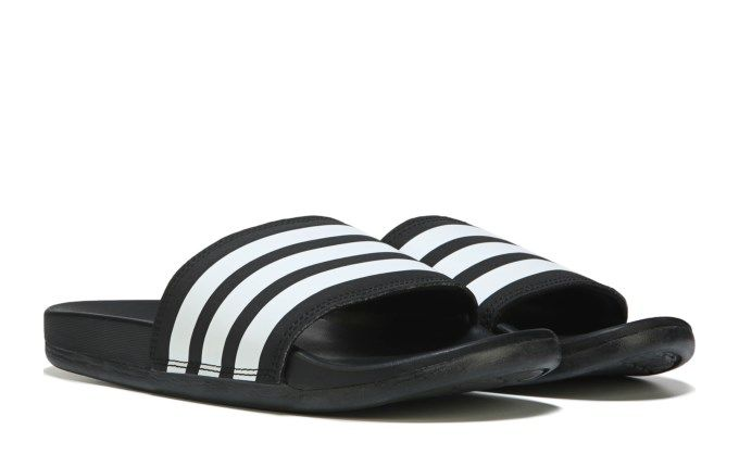 wholesale dealer 218f3 abac5 adidas Womens Adilette Cloudfoam Stripes Slide Sandal