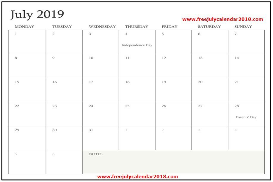 Blank July 2019 Calendar Template Design July 2019 Calendar