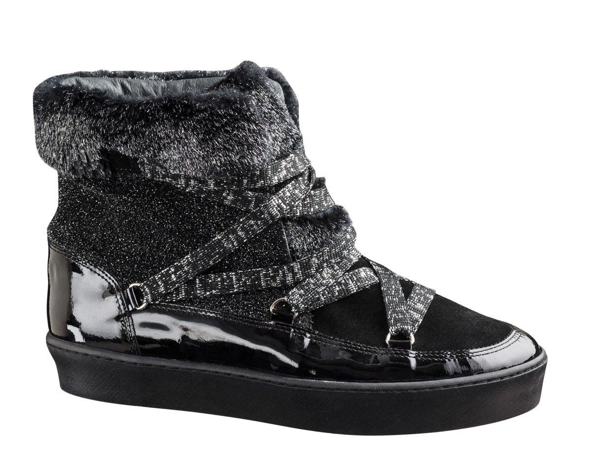 b277d7fafbcc6 Boots BALTIMORE Mix Jannots Fourrure - Noir Acier    Reqins Collection  hiver 2016