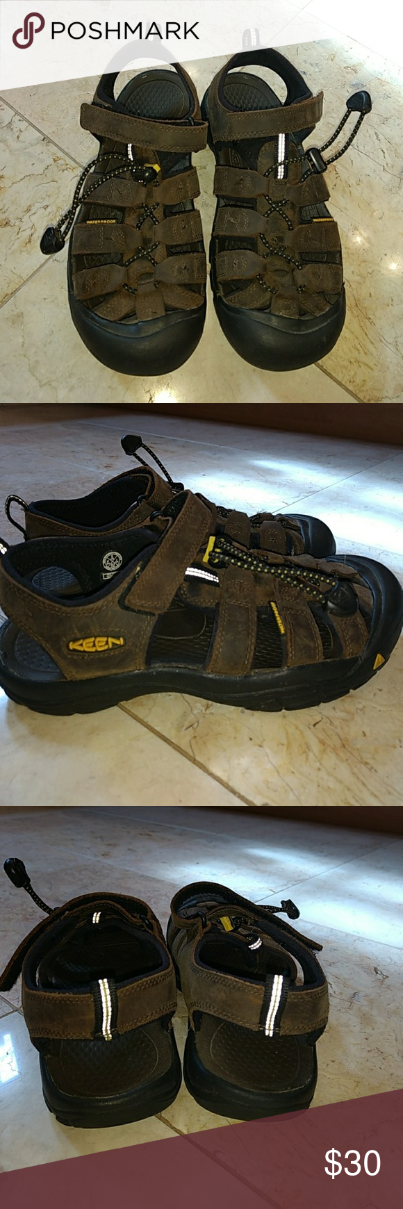 60fd171ba137 Keen Kids Newport premium sandal These brown leather sandals are water  resistant. Secure fit lace capture system with hook and loop cl…