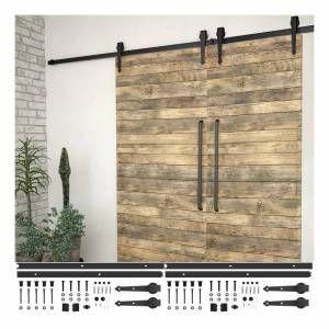 VIDAXL sliding door fitting sets 2 pcs. 200 cm steel black