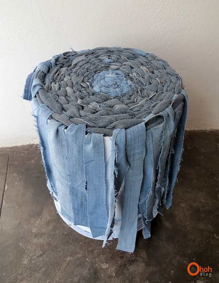 Diy recycled denim basket diy recycle tutorials and craft for Denim craft projects