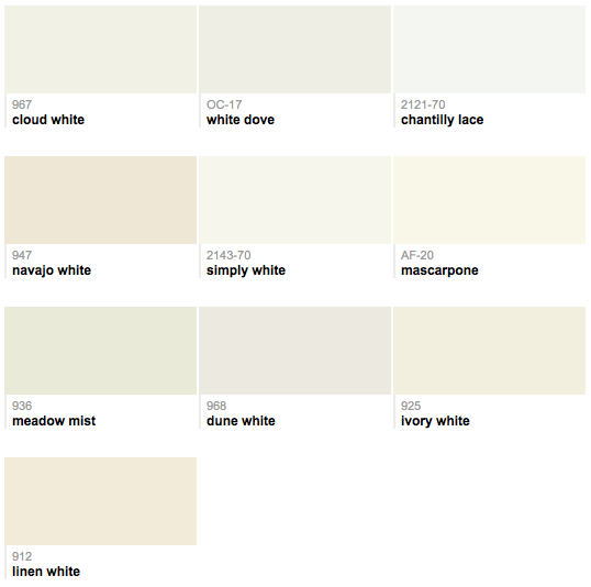 Benjamin Moore : Best Selling Whites (simply White For The